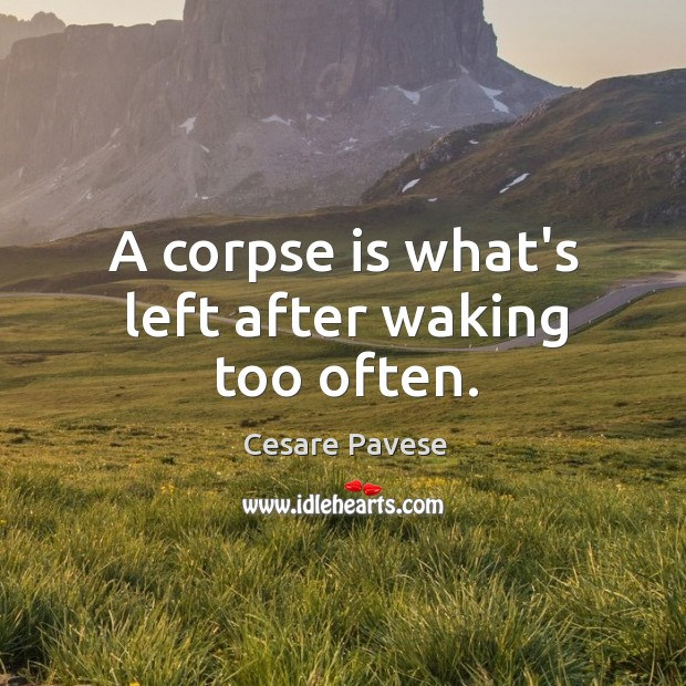 A corpse is what's left after waking too often. Image