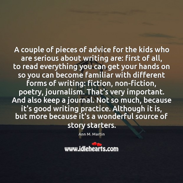 Image, A couple of pieces of advice for the kids who are serious