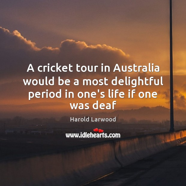 Image, A cricket tour in Australia would be a most delightful period in