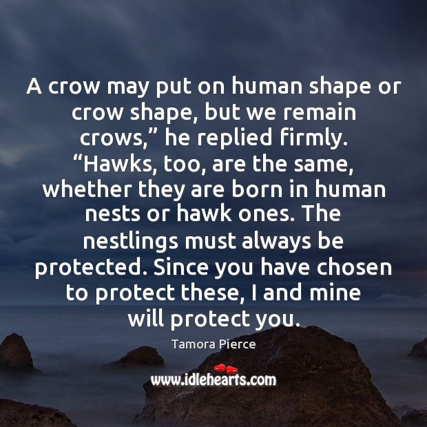 A crow may put on human shape or crow shape, but we Tamora Pierce Picture Quote