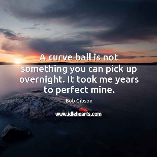 Image, A curve ball is not something you can pick up overnight. It took me years to perfect mine.