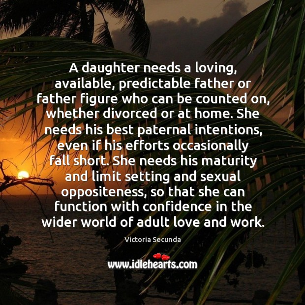 Image, A daughter needs a loving, available, predictable father or father figure who can be counted on