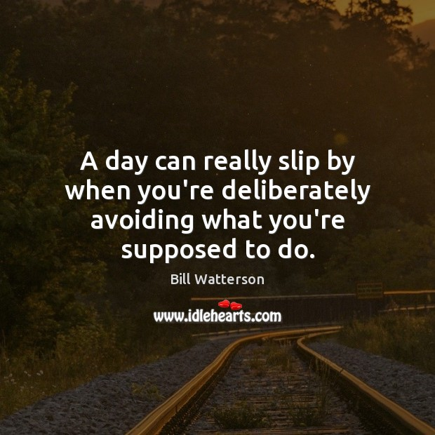 A day can really slip by when you're deliberately avoiding what you're supposed to do. Bill Watterson Picture Quote
