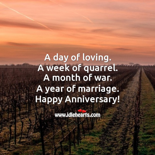 A day of loving. A week of quarrel. A month of war. A year of marriage. Funny Wedding Anniversary Messages Image