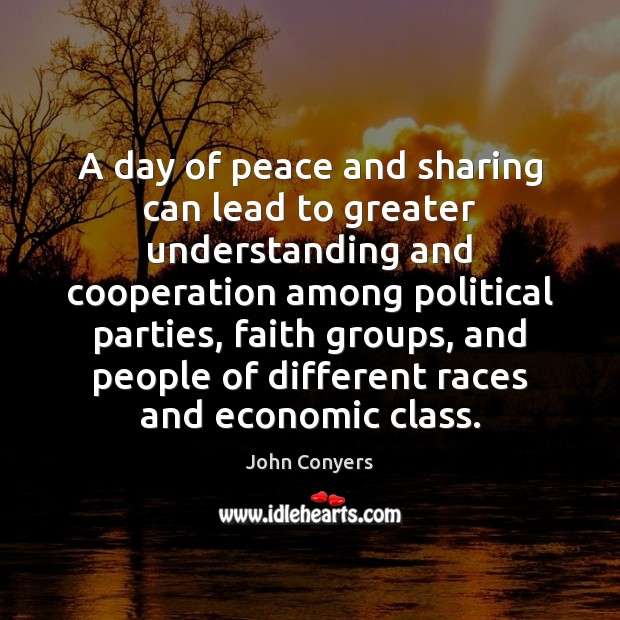 A day of peace and sharing can lead to greater understanding and Image