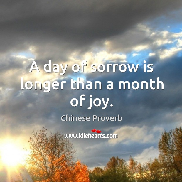 Image, A day of sorrow is longer than a month of joy.