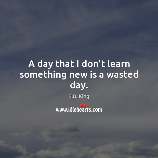 A day that I don't learn something new is a wasted day. B.B. King Picture Quote