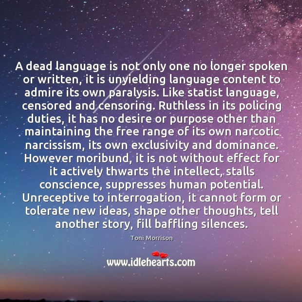 Image, A dead language is not only one no longer spoken or written,