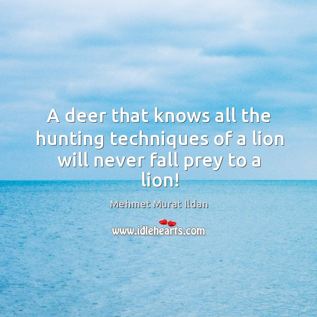 A deer that knows all the hunting techniques of a lion will never fall prey to a lion! Image