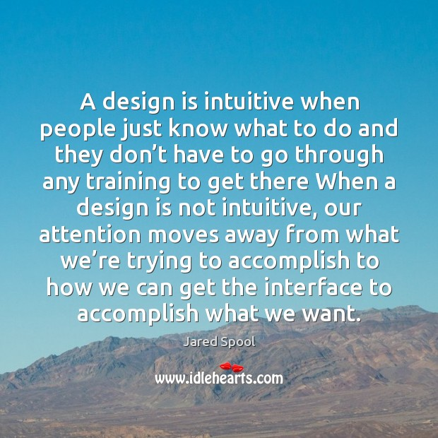 A design is intuitive when people just know what to do and Image