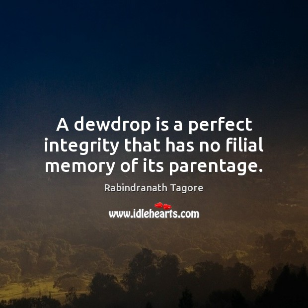 A dewdrop is a perfect integrity that has no filial memory of its parentage. Rabindranath Tagore Picture Quote