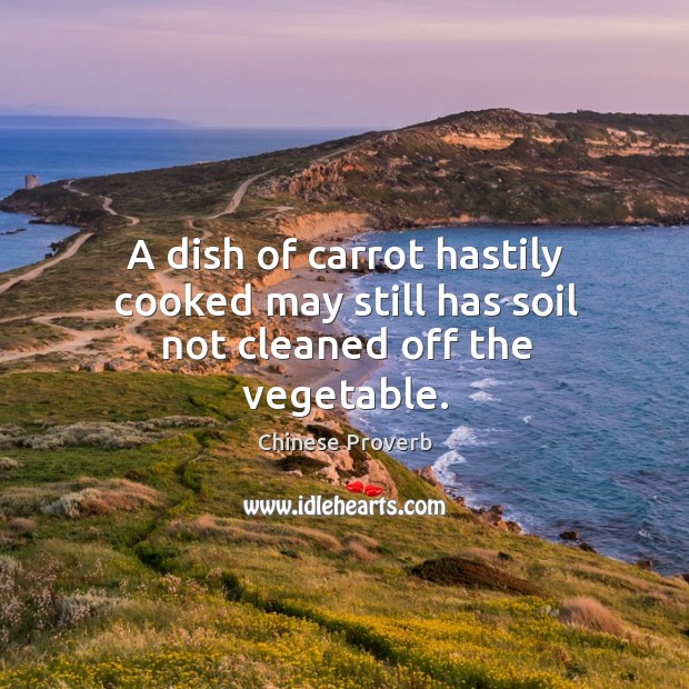 Image, A dish of carrot hastily cooked may still has soil not cleaned off the vegetable.