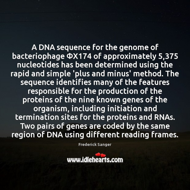 Image, A DNA sequence for the genome of bacteriophage ΦX174 of approximately 5,375 nucleotides