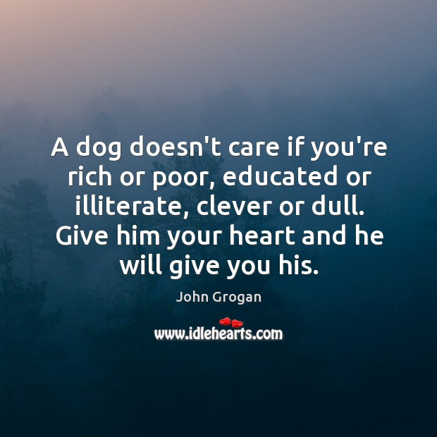A dog doesn't care if you're rich or poor, educated or illiterate, Image