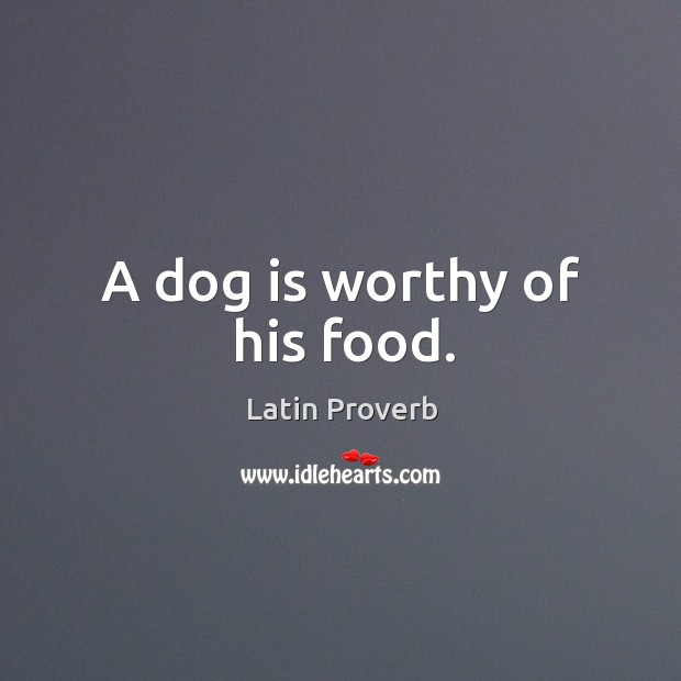 A dog is worthy of his food. Image
