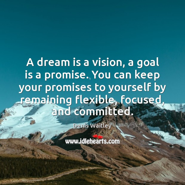 A dream is a vision, a goal is a promise. You can Denis Waitley Picture Quote