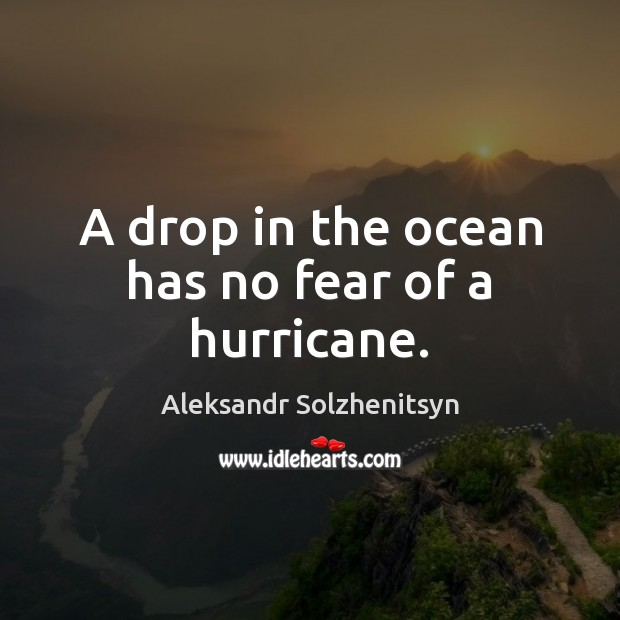 A drop in the ocean has no fear of a hurricane. Aleksandr Solzhenitsyn Picture Quote