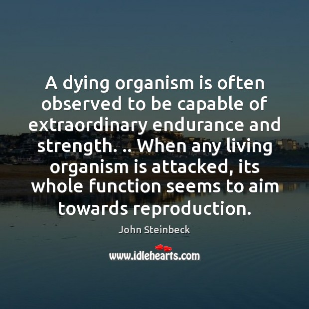 A dying organism is often observed to be capable of extraordinary endurance Image
