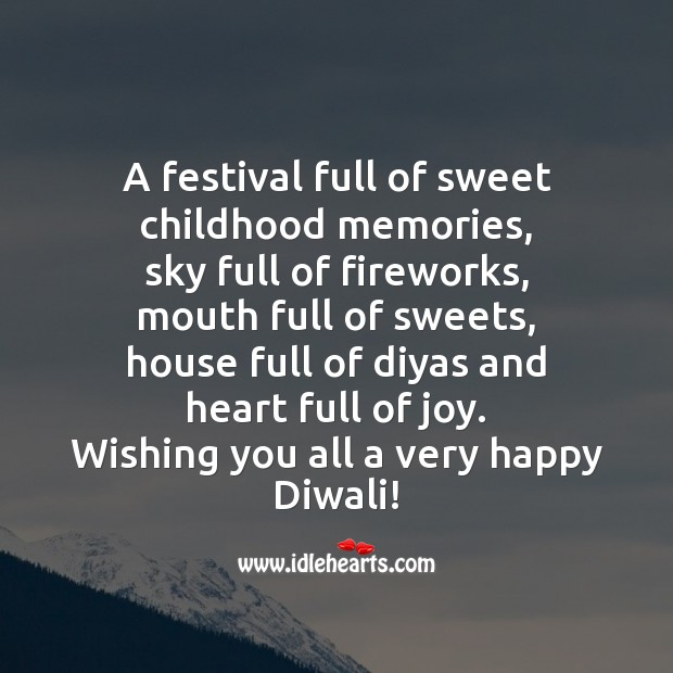 A festival full of sweet childhood memories Diwali Messages Image