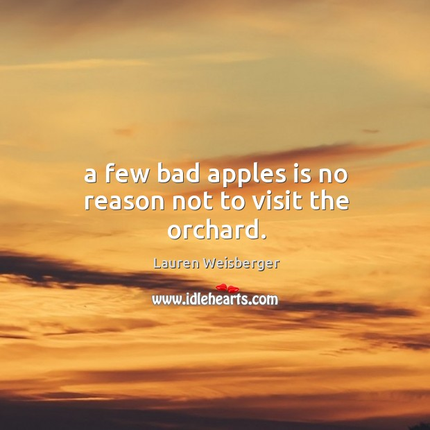 A few bad apples is no reason not to visit the orchard. Image