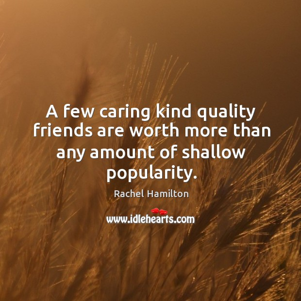 Image about A few caring kind quality friends are worth more than any amount of shallow popularity.