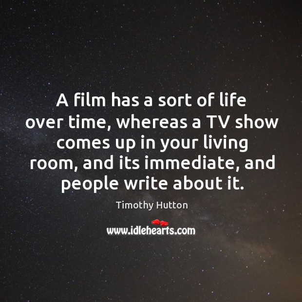 A film has a sort of life over time, whereas a TV Image