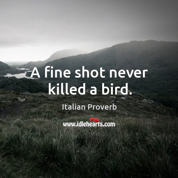 Image, A fine shot never killed a bird.