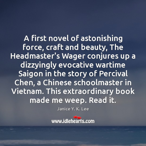 Image, A first novel of astonishing force, craft and beauty, The Headmaster's Wager