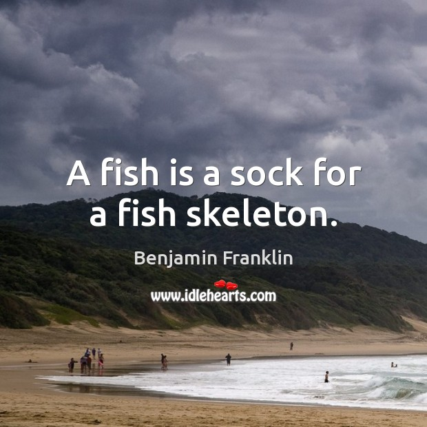A fish is a sock for a fish skeleton. Image
