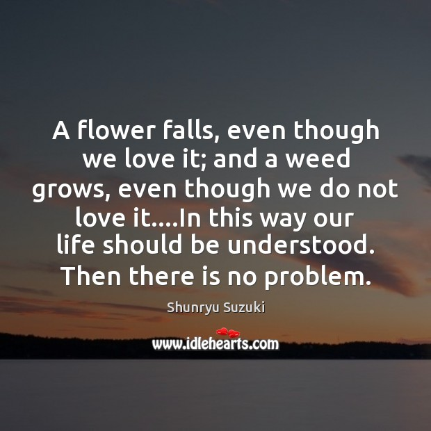 Image, A flower falls, even though we love it; and a weed grows,