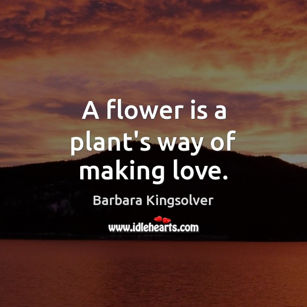 A flower is a plant's way of making love. Barbara Kingsolver Picture Quote