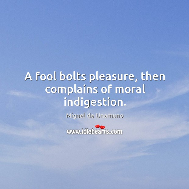 Image, A fool bolts pleasure, then complains of moral indigestion.