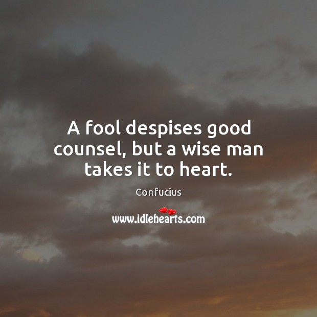 Image, A fool despises good counsel, but a wise man takes it to heart.