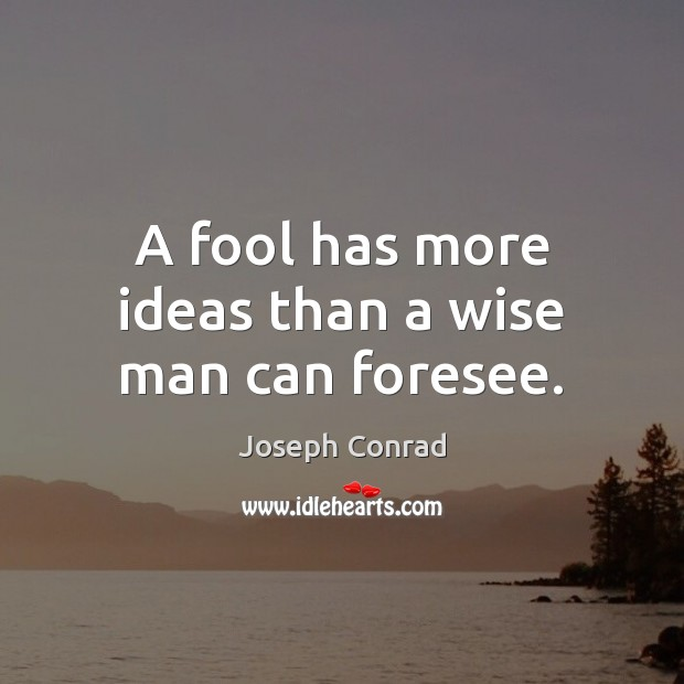 Image, A fool has more ideas than a wise man can foresee.