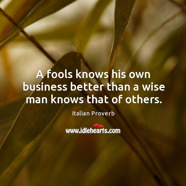 Image, A fools knows his own business better than a wise man knows that of others.