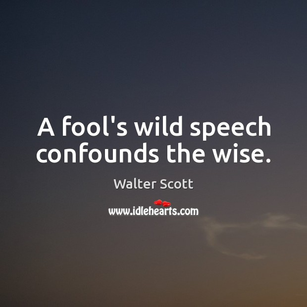A fool's wild speech confounds the wise. Walter Scott Picture Quote