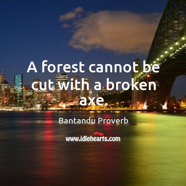 A forest cannot be cut with a broken axe. Bantandu Proverbs Image