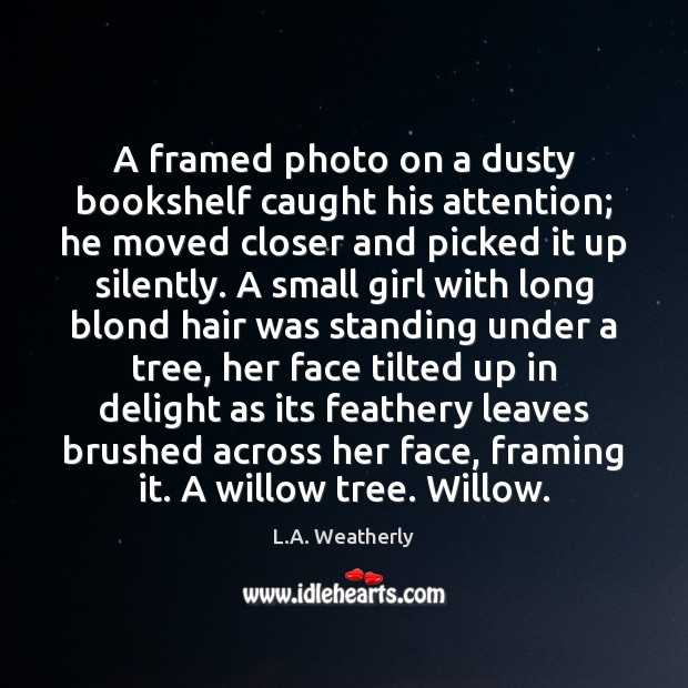 Image, A framed photo on a dusty bookshelf caught his attention; he moved