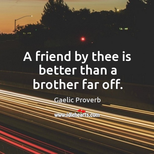 A friend by thee is better than a brother far off. Gaelic Proverbs Image