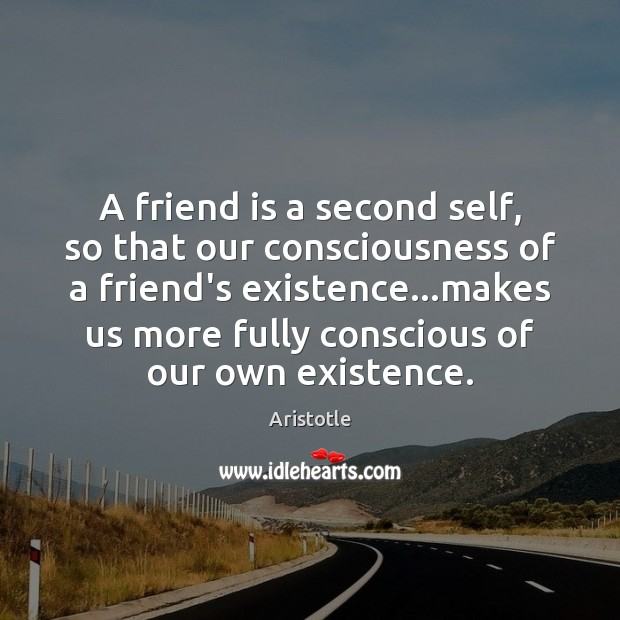 Image, A friend is a second self, so that our consciousness of a