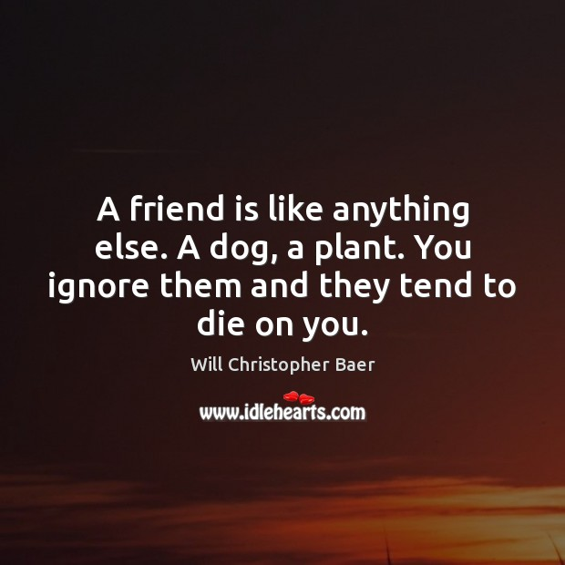 A friend is like anything else. A dog, a plant. You ignore Image