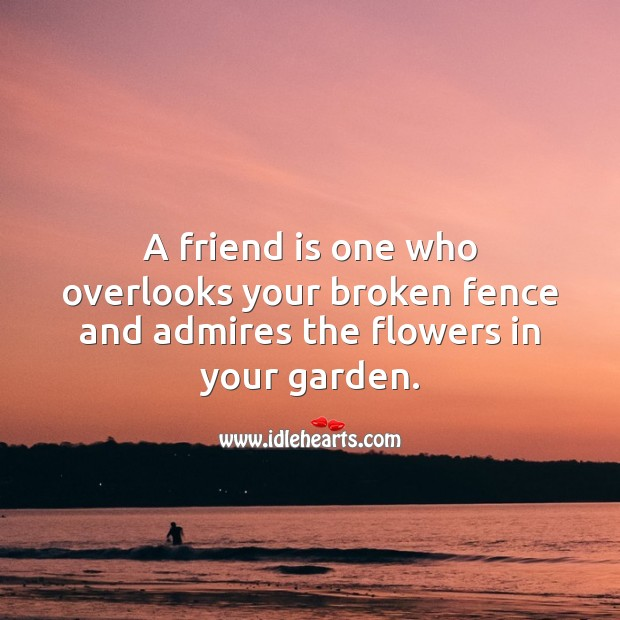 Image, A friend is one who overlooks your broken fence and admires the flowers in your garden.