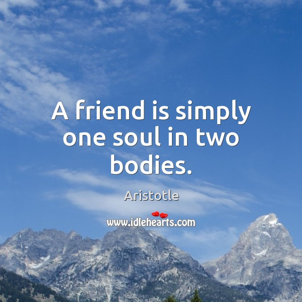 Image, A friend is simply one soul in two bodies.
