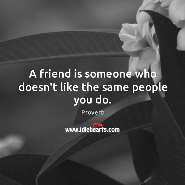 A friend is someone who doesn't like the same people you do. Image