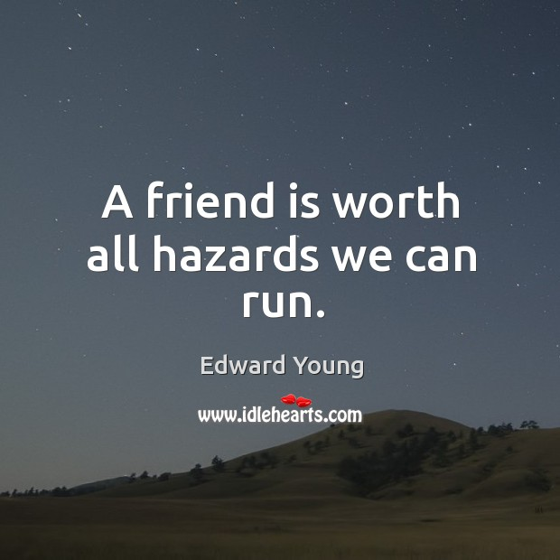 A friend is worth all hazards we can run. Image