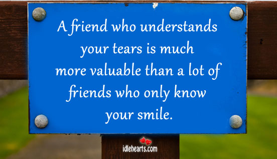 Image, A friend who understands your tears is much more valuable
