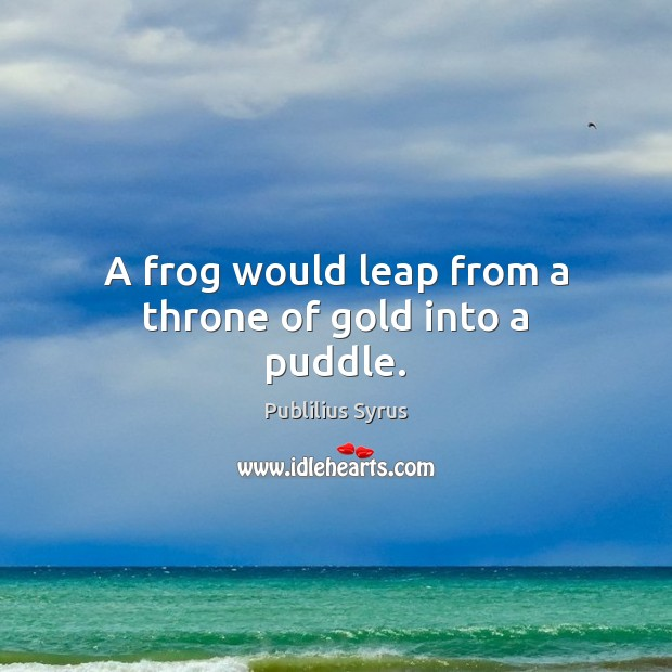 A frog would leap from a throne of gold into a puddle. Image