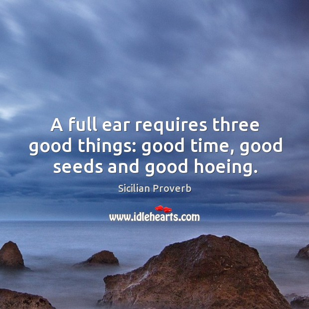 A full ear requires three good things: good time, good seeds and good hoeing. Image