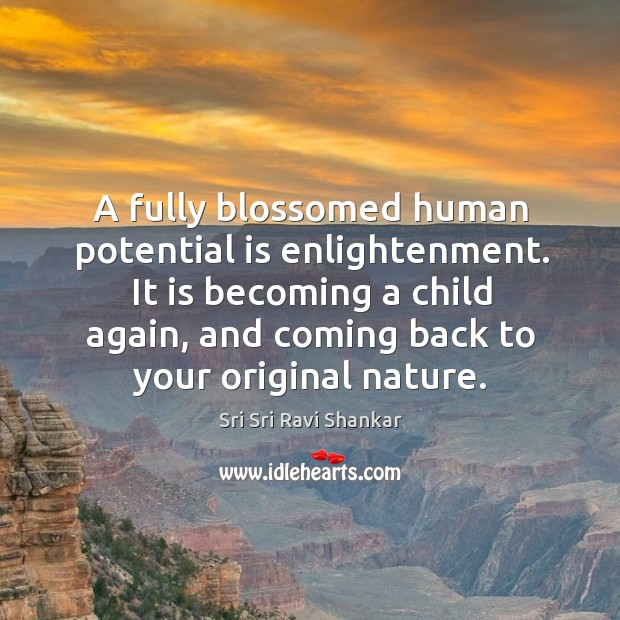 A fully blossomed human potential is enlightenment. It is becoming a child Image