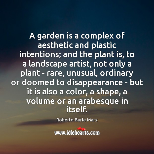 A garden is a complex of aesthetic and plastic intentions; and the Image